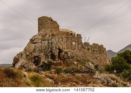 Ancient castle on a spectacular cliff, Kalymnos island, Dodecanese, Greece.