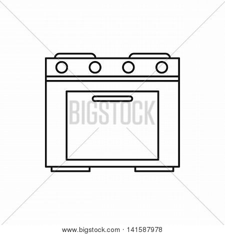 Kitchen stove icon in outline style isolated on white background