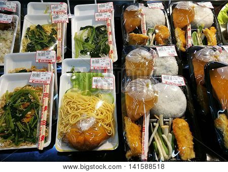 Hanoi, Vietnam - Aug 7, 2016: Packed fast food for sale at Big C supermarket. Big C Supercenter is a grocery and general merchandising retailer headquartered in Bangkok, Thailand.