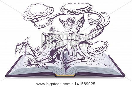 Open book with an illustration Fantasy. Elf Woman and Dragon. Illustration in vector format