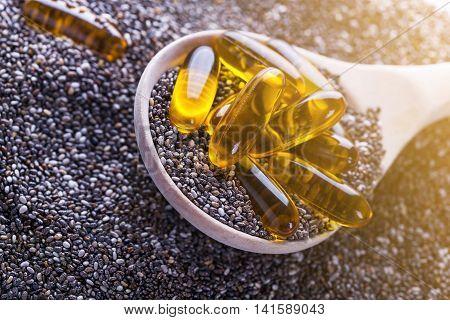 Vitamin Capsules With Chia Oli, Source Of Plants Omega-3