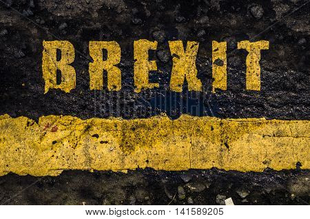 Grungy Concept British Road Markings Saying Brexit