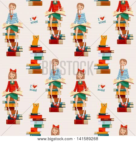 Girls read books sitting on stacks of books. Back to school. Seamless background pattern. Vector illustration
