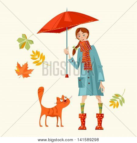 A girl with umbrella and a cat. Hello Autumn! Vector illustration
