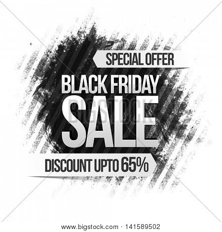 Black Friday Sale with Discount upto 65%, Special Offer Poster, Banner or Flyer with abstract design, Vector illustration.