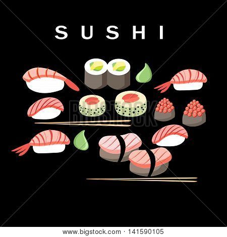 Beautiful vector illustration of delicious Japanese sushi