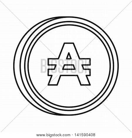 Argentine austral sign icon in outline style isolated on white background