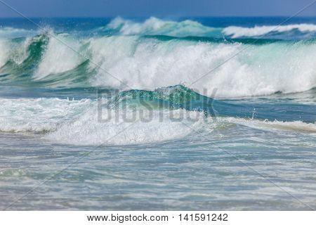 Big Stormy Ocean Waves Background, Portugal, Europe
