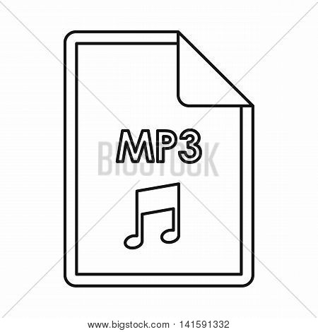 MP3 audio file extension icon in outline style isolated on white background
