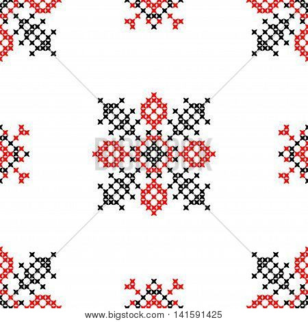 Seamless embroidered texture of abstract flat patterns in red black colors cross-stitch ornament for cloth