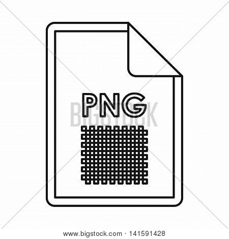 PNG image file extension icon in outline style isolated on white background