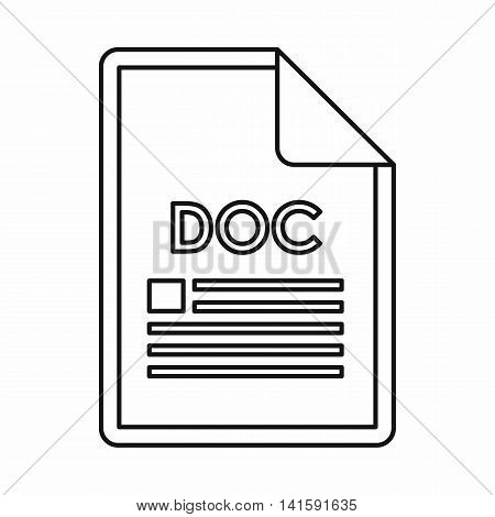 DOC file format icon in outline style isolated on white background
