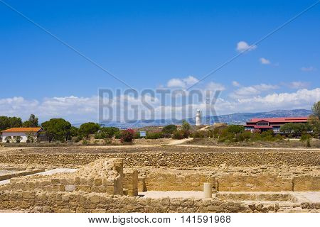 Ancient buildings in Paphos at Cyprus. Beautiful landscape, travel Greece.