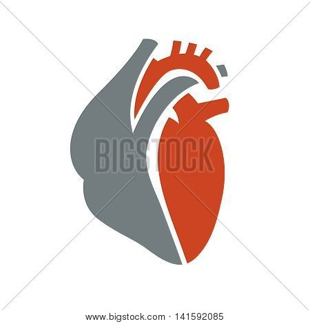 Heart symbol. Useful for sign development, indographics, postcard, leaflet, brochure, print, book and poster graphic design. Beautiful vector illustation in red and grey colors.