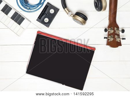 Blank Tablet screen and Entertainment technology objects
