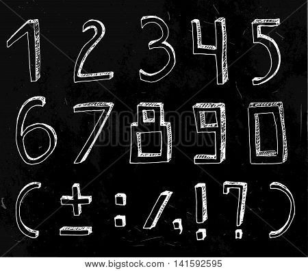 Vector handdrawn figures. Volumetric handmade numbers. White figures and mathematical characters in funny style on a dark grey background.
