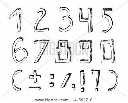 Vector handdrawn figures. Volumetric handmade numbers. Black figures and mathematical characters in funny style on a white background.