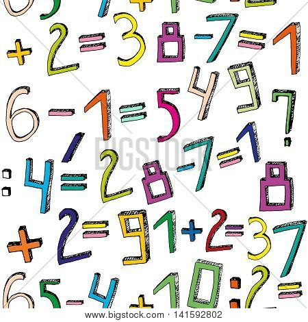 Vector handdrawn figures. Volumetric handmade numbers. Multicolored figures and mathematical characters in funny style on a white background.