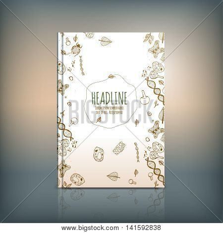 Vector handdrawn biology brochure cover template. Modern backgrounds for poster, print, flyer, book, booklet, brochure and leaflet design. Editable graphic collection in white, brown and green colors