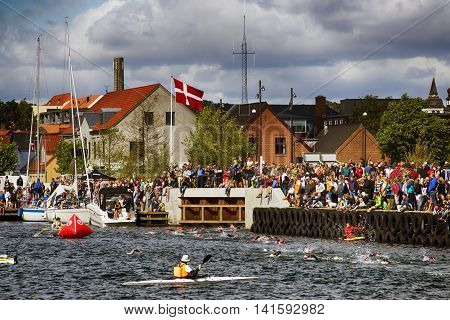 FREDERICIA DENMARK - AUGUST 6 2016: Triathletes swimming out in Old Harbor from small canal in the triathlon competition Challenge Denmark in Fredericia August 6 2016.