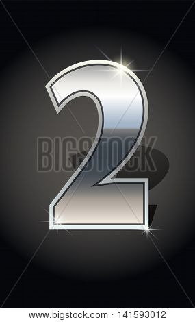 Silver number two on dark background isolated. Silver alphabet. Vector illustration number two for Silver numbers design. Number two icon. Vector illustration stock vector.