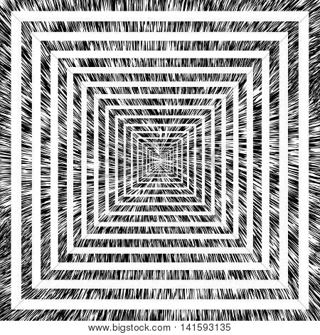 Abstract background with illusion of perspective movement in tunnel. Vector art.