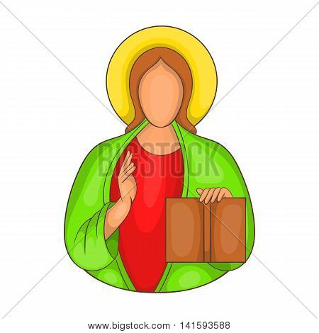 Jesus icon in cartoon style on a white background