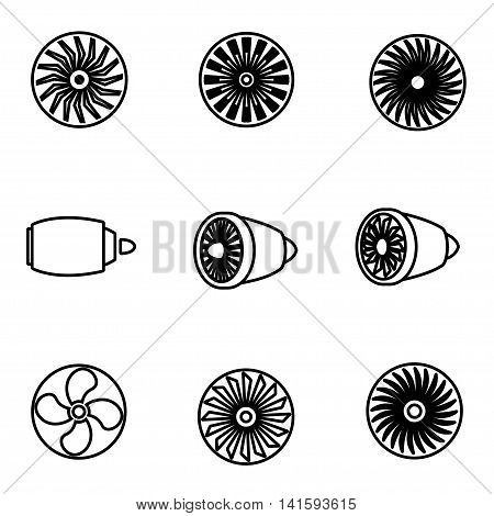 Vector line turbines icon set on white background