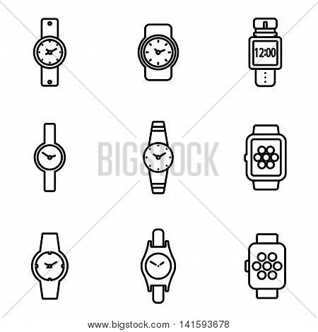 Vector line wristwatch icon set on white background