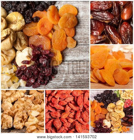 Collage Of Different Type Of Dry Fruits And Nuts