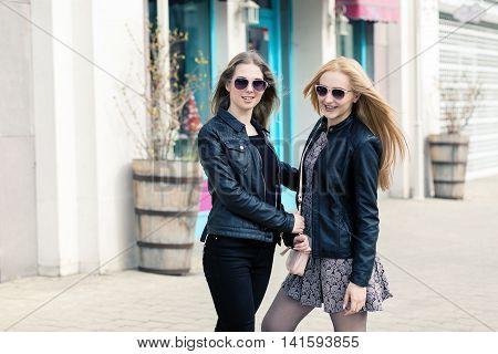 Two Female Friends Having Fun Outside