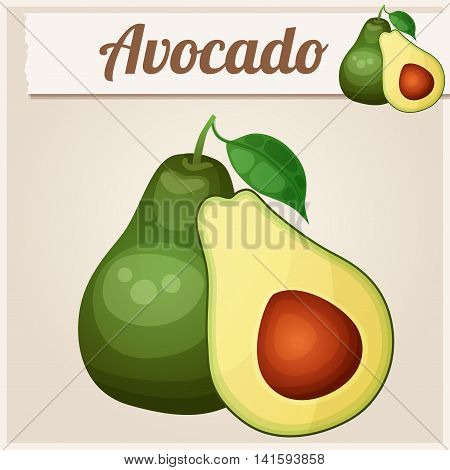 Avocado 2. Cartoon vector icon. Series of food and fruits