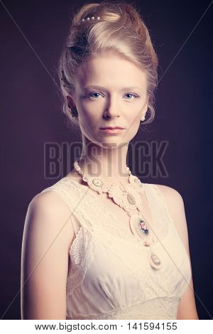 Woman Dressed In Vintage Victorian Style