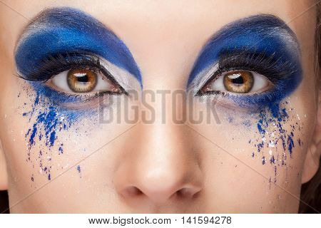 Artistic Creative Make Up On Eyes In Close Up Photo