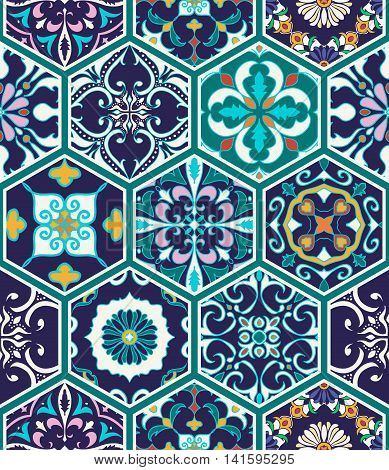 Vector seamless texture. Beautiful mega patchwork pattern for design and fashion with decorative elements. Portuguese tiles Azulejo Talavera Moroccan ornaments in hexagon shapes