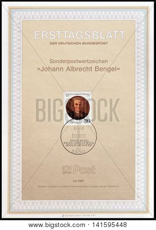 GERMANY - CIRCA 1987 : Cancelled First Day Sheet printed by Germany, that shows Johann Albrecht Bengel.