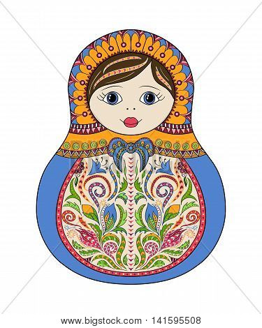 Vector russian folk ornamental matrioshka doll. Hand drawn zentangle with floral and ethnic ornaments. Colored page for relax and meditation