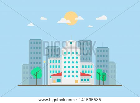 Day City Life Concept. Town street. Urban Landscape Banner with buildings trees shop stores sky and sun. Vector