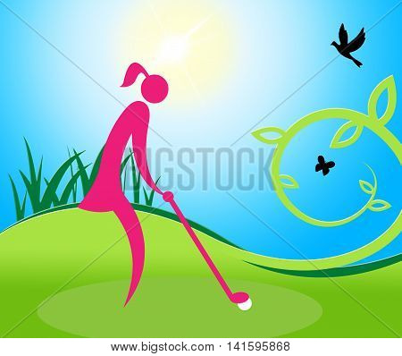 Woman Teeing Off Means Golf Course And Golfer