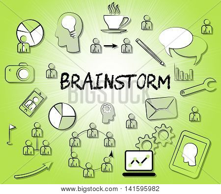 Brainstorm Icons Means Dream Up And Brainstorming