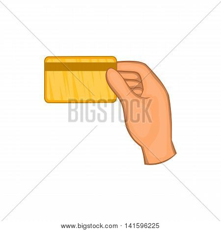 Hand holding a credit card icon in cartoon style on a white background