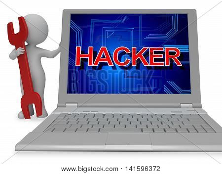 Hacker Sign Shows Spyware Unauthorized 3D Rendering