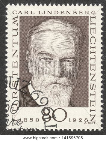 MOSCOW RUSSIA - CIRCA APRIL 2016: a post stamp printed in LIECHTENSTEIN shows a portrait of Carl Lindenberg the series