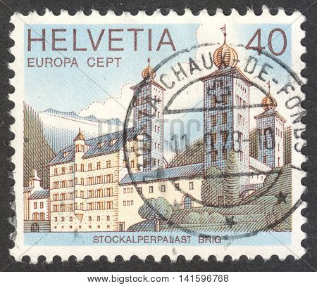 MOSCOW RUSSIA - CIRCA MAY 2016: a post stamp printed in SWITZERLAND shows the Stockalber Palace Brig the series