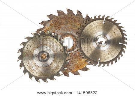 Rusty circular saw blades, isolated on white background.