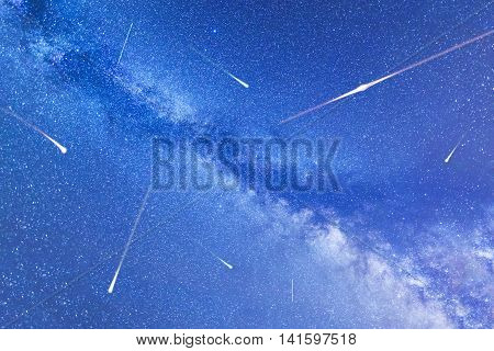 A view of the stars of the Milky Way. Falling stars. Perseid Meteor Shower in 2016.