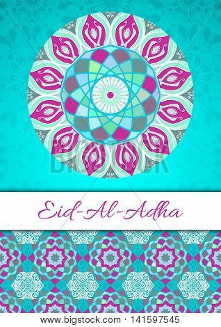 Vector greeting card to Feast of the Sacrifice (Eid-Al-Adha). Congratulation's background with text and mosaic mandalas patterns. A4 format