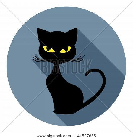 Halloween Cat Icon Indicates Trick Or Treat And Animal