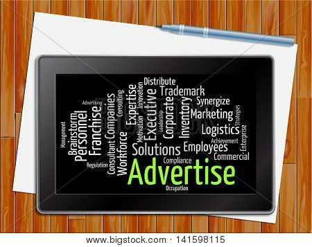 Advertise Word Indicates Words Adverts And Promoting Tablet