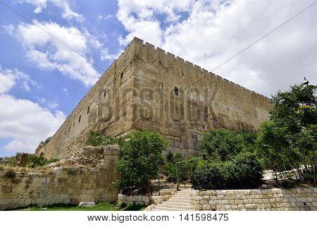 East corner of fortified wall of old Jerusalem Israel.